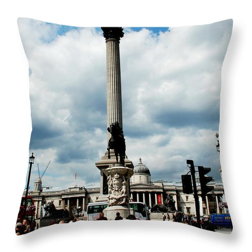 Tourists Throw Pillow featuring the photograph Tourists At Trafalgar Square by Pravine Chester