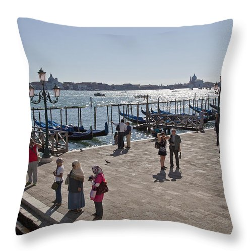 Tourists Throw Pillow featuring the photograph Tourists In Venice by Madeline Ellis