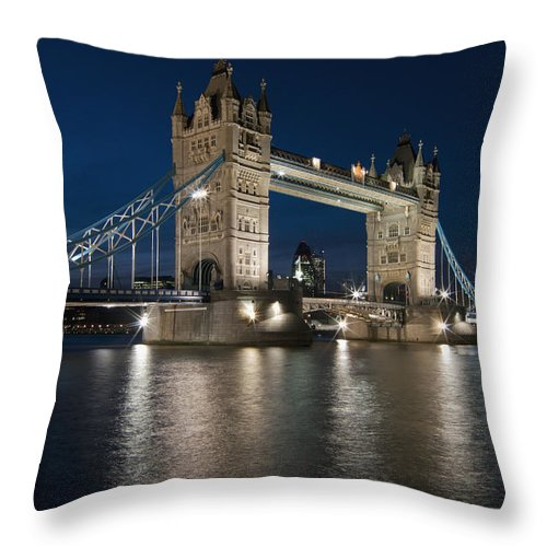 2010 Throw Pillow featuring the photograph Tower Bridge Dusk by Axiom Photographic