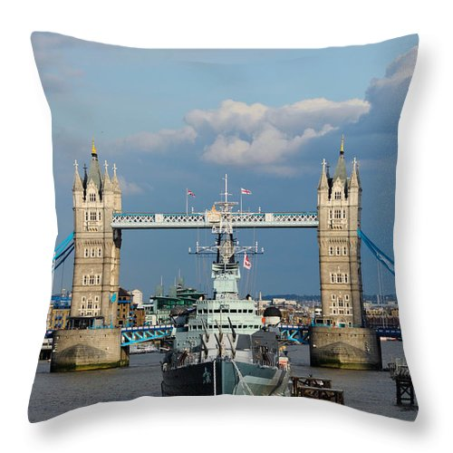British Throw Pillow featuring the photograph Tower Bridge With Hms Belfast by Andrew Michael
