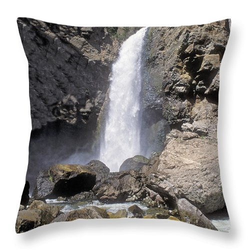 Sandra Bronstein Throw Pillow featuring the photograph Tower Fall Of Yellowstone by Sandra Bronstein