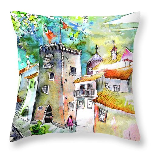 Portugal Throw Pillow featuring the painting Tower in Ponte de Lima in Portugal by Miki De Goodaboom