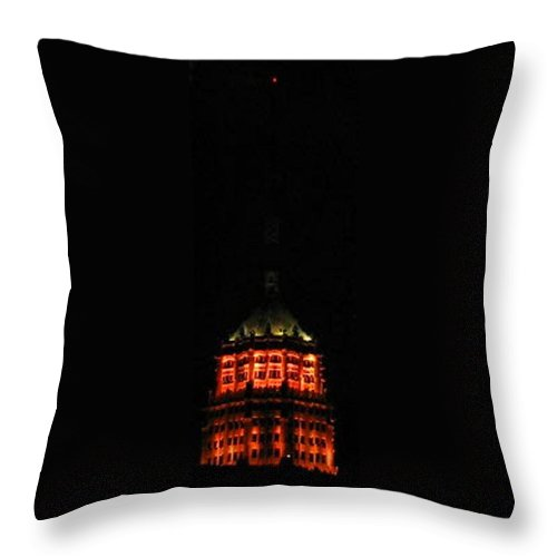 San-antonio Throw Pillow featuring the photograph Tower Life Building At Night by April Patterson