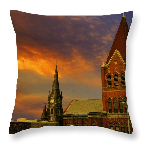 Church Throw Pillow featuring the photograph Towers Of Faith by Brian Fisher