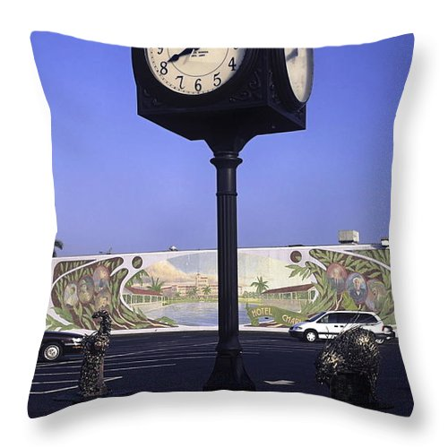 Town Clock Throw Pillow featuring the photograph Town Clock by Sally Weigand