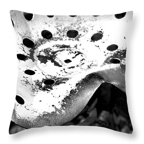 Seat Throw Pillow featuring the photograph Tractor Seat Close Up Black And White by Phyllis Denton