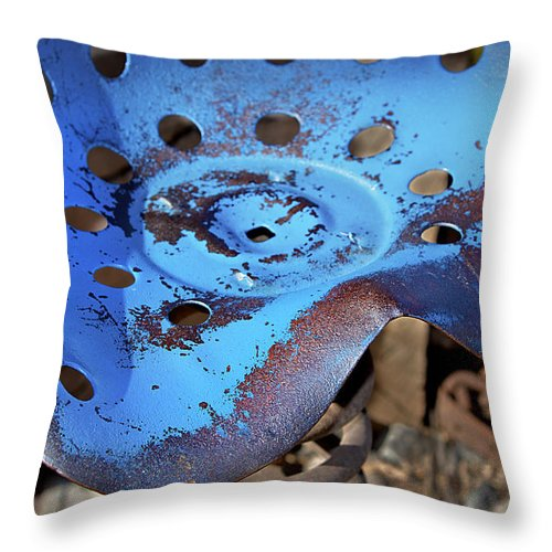Seat Throw Pillow featuring the photograph Tractor Seat Close Up by Phyllis Denton