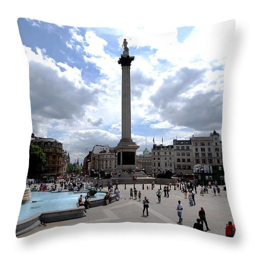Cityscapes Throw Pillow featuring the photograph Trafalgar Square by Pravine Chester