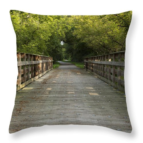 Hike Throw Pillow featuring the photograph Trail Scene Summer 1 by John Brueske