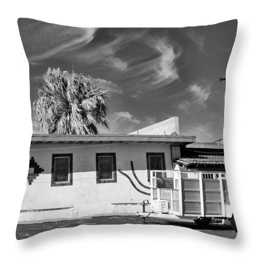 Dhs Throw Pillow featuring the photograph Trailer Town Bw by William Dey