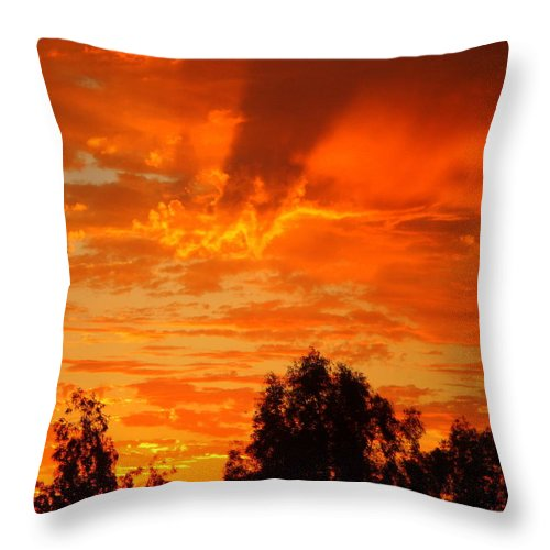 Sunset Throw Pillow featuring the photograph Trailing Clouds Of Glory by Sylvia Bielefeldt