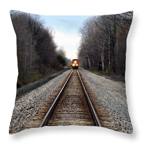 Train Throw Pillow featuring the photograph Train Head On by Ronald Grogan