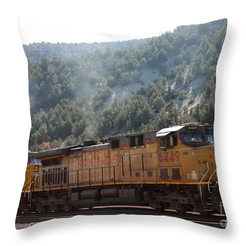 Smoke Stacks Throw Pillow featuring the photograph Train In Spanish Fork Canyon by Pamela Walrath