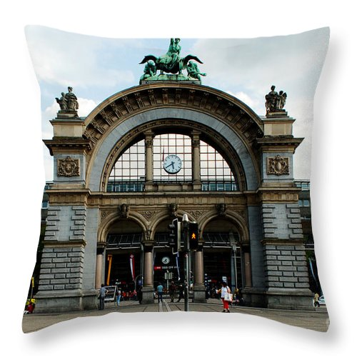Train Station Throw Pillow featuring the photograph Train Station At Lucerne by Pravine Chester