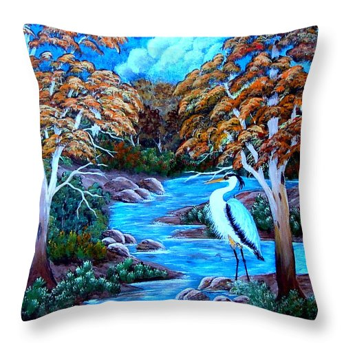 Landscape-water-stream-blue Heron. Throw Pillow featuring the painting Tranquility by Fram Cama