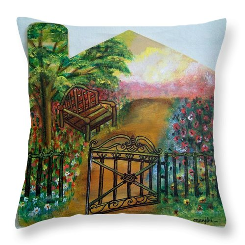 Garden Throw Pillow featuring the painting Tranquility by Manjiri Kanvinde