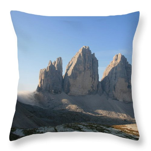 Lavaredo Mountains Throw Pillow featuring the photograph Tre Cime Di Lavaredo by Francesco Scali