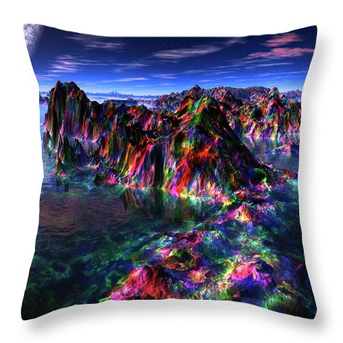 Treasure Hunt By Moonlight 1 Throw Pillow featuring the digital art Treasure Hunt By Moonlight 1 by Heinz G Mielke