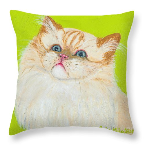 Cat Throw Pillow featuring the painting Treat Please by Ania M Milo