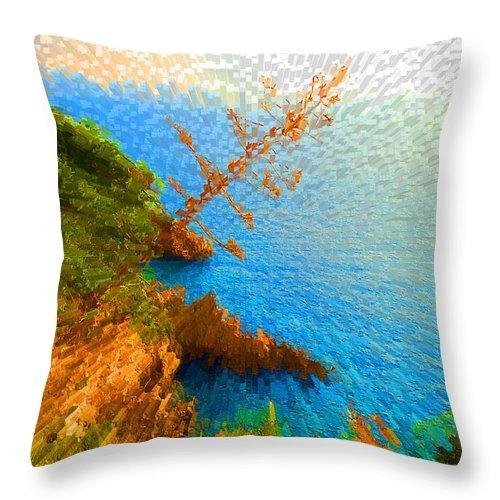 Dubrovnik Throw Pillow featuring the digital art Tree On Rock In Dubrovnik Croatia by Eva Kaufman