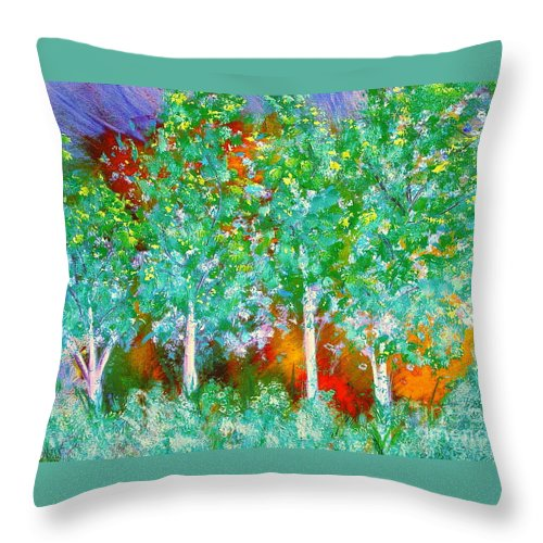 Throw Pillow featuring the painting Trees by Gwen Baptiste