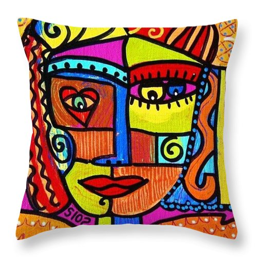 Women Throw Pillow featuring the painting Tribal African Angel by Sandra Silberzweig