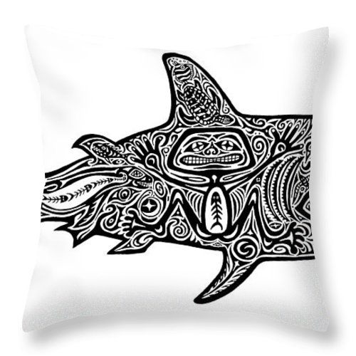 6d3143b9c4cc Tribal Shark Throw Pillow for Sale by Carol Lynne