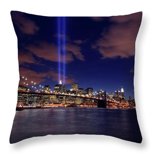 New York City Throw Pillow featuring the photograph Tribute In Light II by Rick Berk