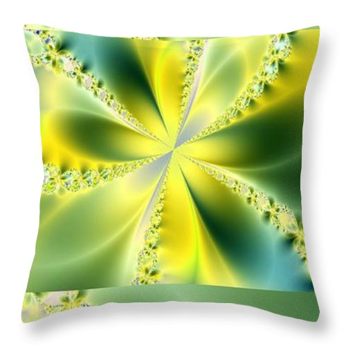 Fractals Canvas Prints Throw Pillow featuring the digital art Triplicate Vertical Yellow Blossoms by Ester Rogers