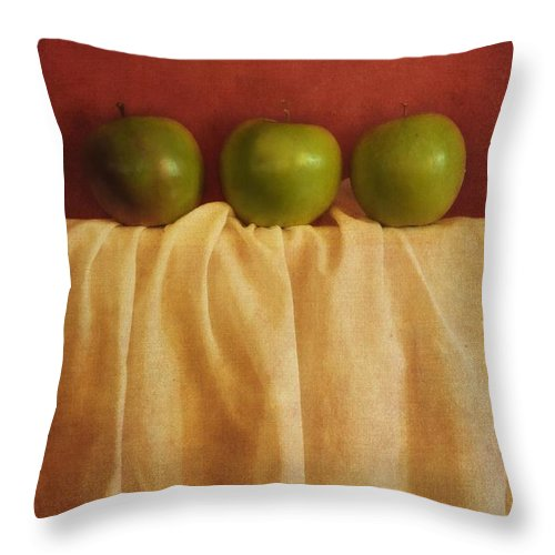Priska Wettstein Throw Pillow featuring the photograph Trois Pommes by Priska Wettstein