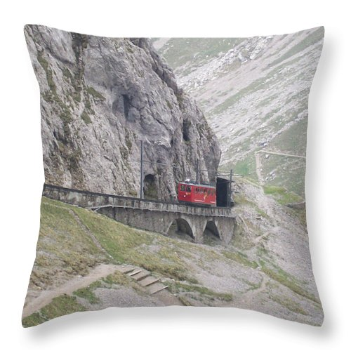 Lucerne Throw Pillow featuring the photograph Trolley Ride Through A Tunnel by Greg Plamp