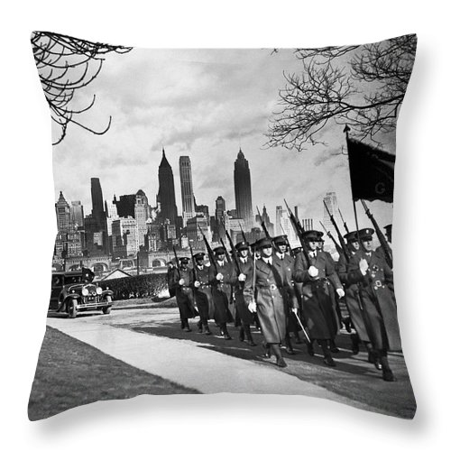 1920's Throw Pillow featuring the photograph Troops On Governors Island by Underwood Archives