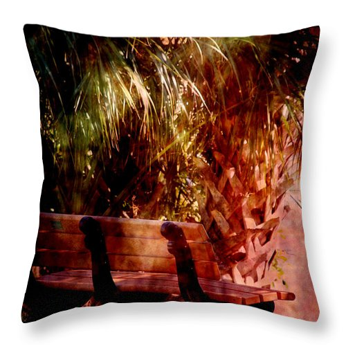 Bench Throw Pillow featuring the photograph Tropical Bench by Susanne Van Hulst