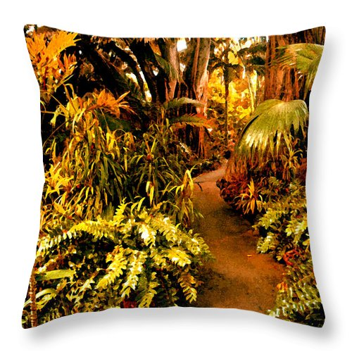 Garden Throw Pillow featuring the painting Tropical Forest by Amy Vangsgard