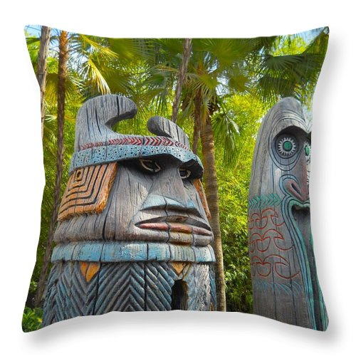 Adventureland Throw Pillow featuring the photograph Tropical Tikis by Rachel Kaufmann
