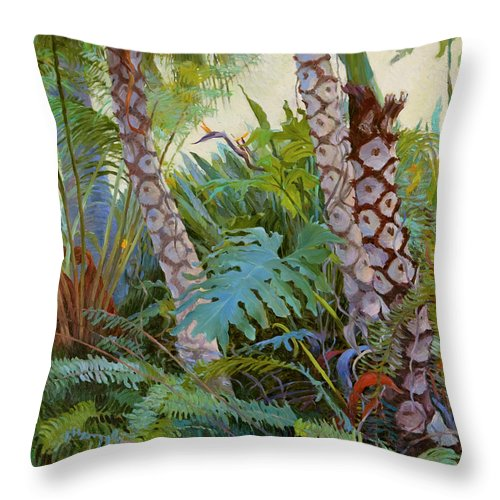 Green Throw Pillow featuring the painting Tropical Underwood by Judith Barath