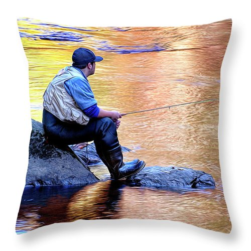 Trout Fisherman Throw Pillow featuring the photograph Trout Fisherman In Autumn by Dave Mills