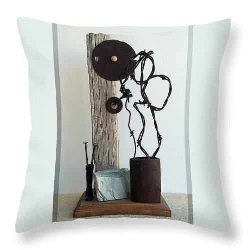 Assemblage Sculptures Throw Pillow featuring the sculpture True Bond by Snake Jagger