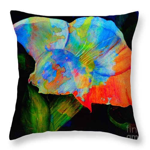 Trumpet Flower Throw Pillow featuring the digital art Trumpet With Watercolor Overlay by Barbara Griffin