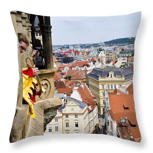 Prague Throw Pillow featuring the photograph Trumpeter - Prague Old Town Square by Jon Berghoff