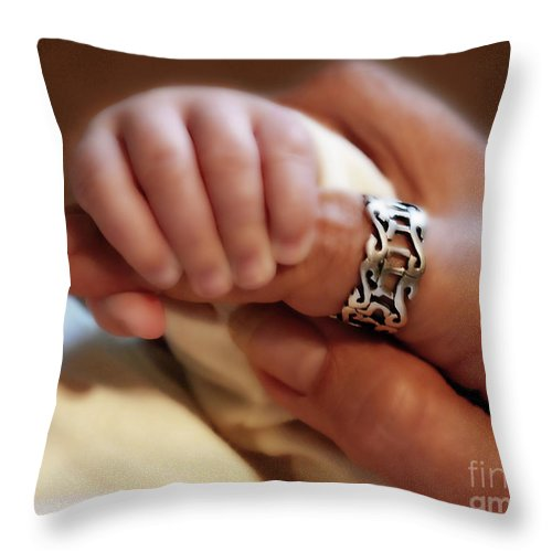Baby Fingers Throw Pillow featuring the painting Trust by Constance Woods