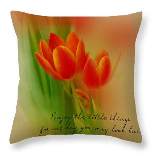 Tulips Throw Pillow featuring the photograph Tu-lips by Mary Timman