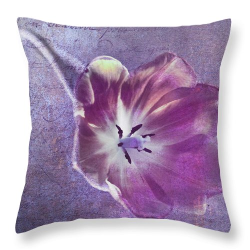 Florals Throw Pillow featuring the photograph Tulip Fancy by Linda Dunn