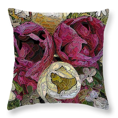 Tulip Throw Pillow featuring the digital art Tulips To You by Tim Allen