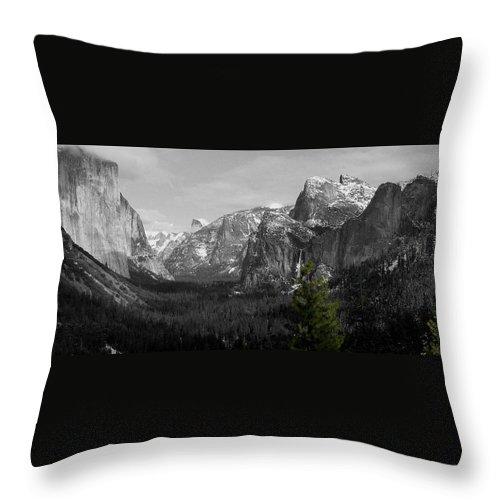 Selective Color Photograph Throw Pillow featuring the photograph Tunnel View Selective Color by Travis Day