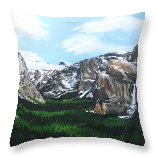 Yosemite Throw Pillow featuring the painting Tunnel View by Travis Day