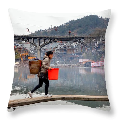 Town Throw Pillow featuring the photograph Tuojiang River In Fenghuang by Valentino Visentini