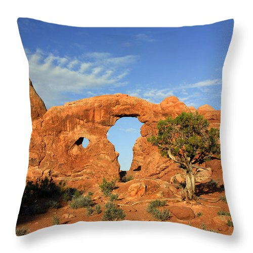 Turret Arch Throw Pillow featuring the photograph Turret Arch by Dave Mills