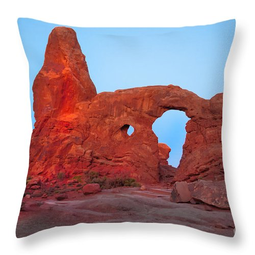 Arches National Park Throw Pillow featuring the photograph Turret Arch II by Robert Bales