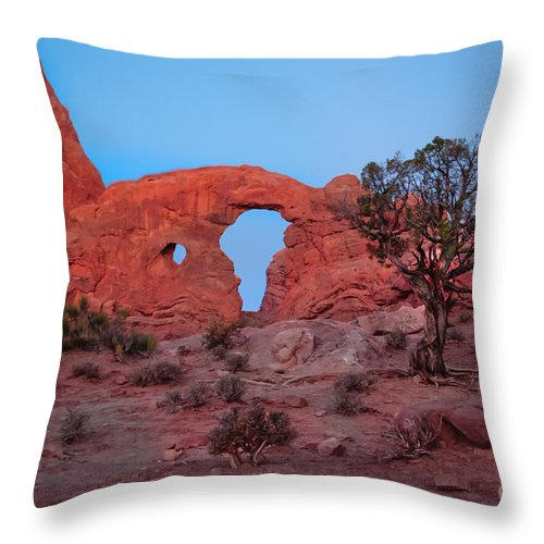 Arches National Park Throw Pillow featuring the photograph Turret At Sunrise by Robert Bales